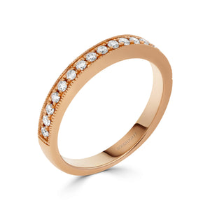 Pave Mill-grain 0.24ct Diamond Band in Rose Gold
