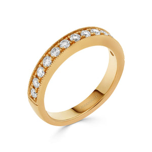 Pave Mill-grain 0.40ct Diamond Band in Yellow gold