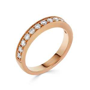 Pave Mill-grain 0.40ct Diamond Band in Rose Gold