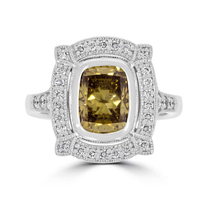 Art Deco 2.02ct Green Diamond Ring - Rosendorff Diamond Jewellers