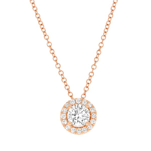 Timeless 0.50ct Diamond Halo Pendant in Rose Gold