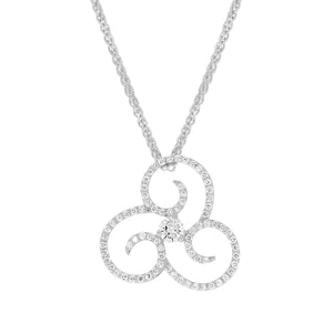 Fancy Swirl Diamond Pendant in White Gold