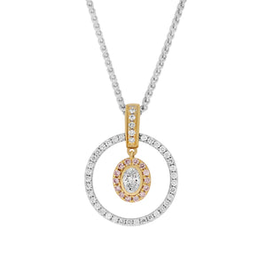 Oval & Pink Diamond Halo Pendant
