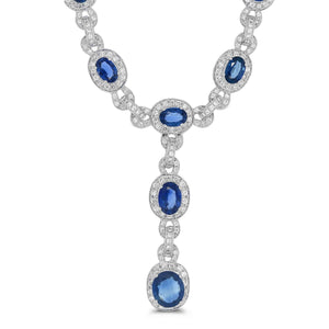 Royal Blue Sapphire & Diamond Necklace - Rosendorff Diamond Jewellers
