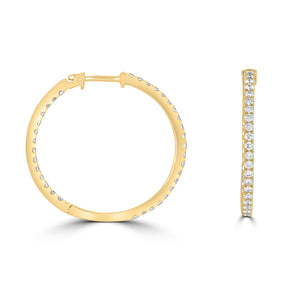 Diamond Hoop Earrings 25mm