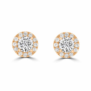 Rose Gold Halo Diamond Stud Earrings - Rosendorff Diamond Jewellers