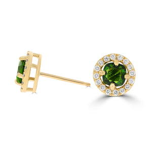 Chrome Diopside & Diamond Halo Studs in Yellow Gold