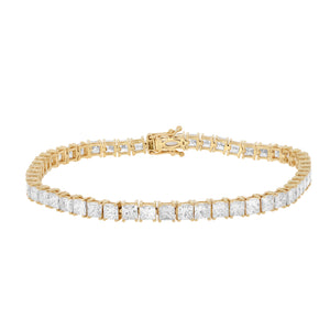 Yellow Gold 11.51ct Princess Cut Diamond Tennis Bracelet.