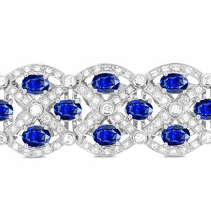 White Gold Diamond and Sapphire Bracelet - Rosendorff Diamond Jewellers