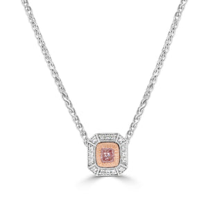 Art Deco Argyle Pink Cushion Cut Diamond Necklace