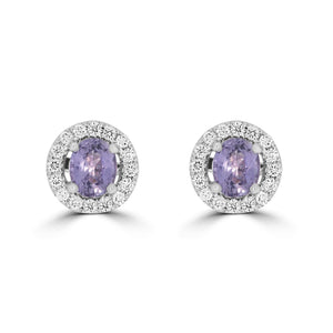Purple Sapphire & Diamond Earrings - Rosendorff Diamond Jewellers