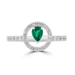 Natural Pear Emerald & Diamond Ring - Rosendorff Diamond Jewellers