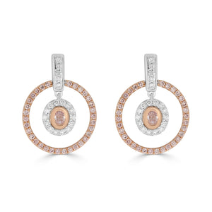 Argyle 0.114ct Pink Oval Diamond Halo Drop Earrings