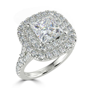 Bespoke Double Cushion Halo Ring - Rosendorff Diamond Jewellers