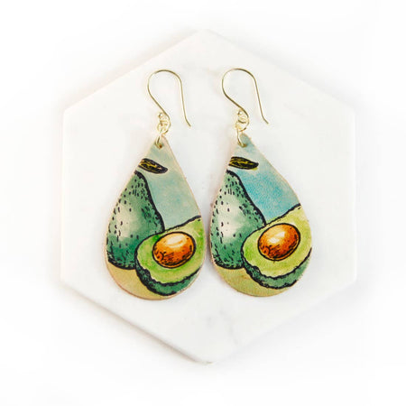 Avacado Hand Painted Leather Earrings