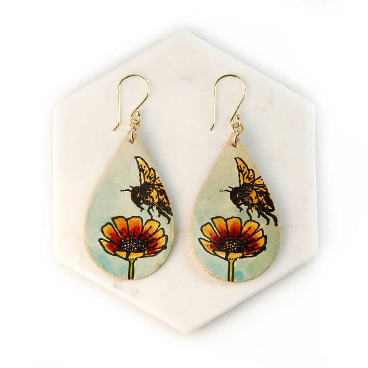 Bee and Flower Hand Painted Leather Earrings