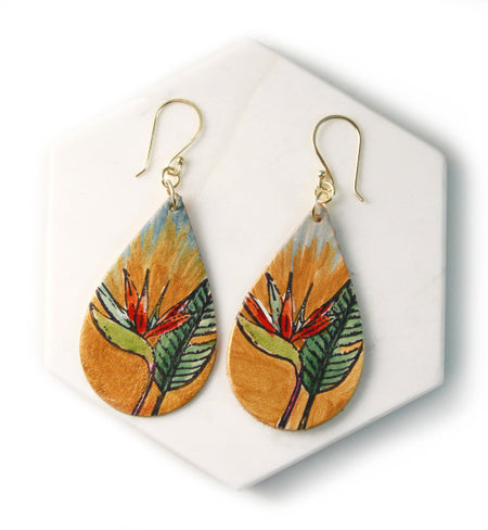Birds of Paradise Hand Painted Leather Earrings