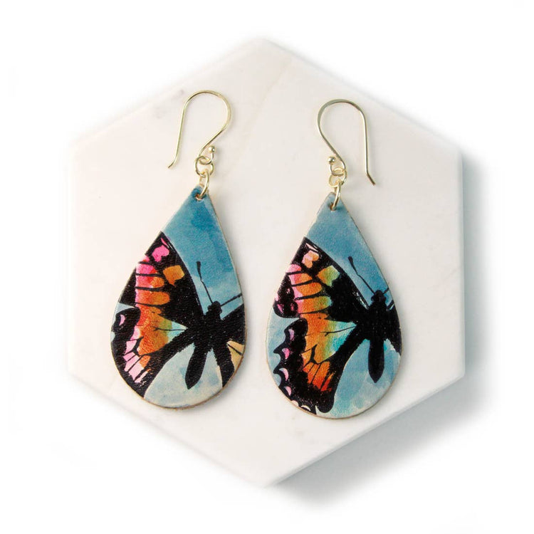 Butterfly Hand Painted Leather Earrings