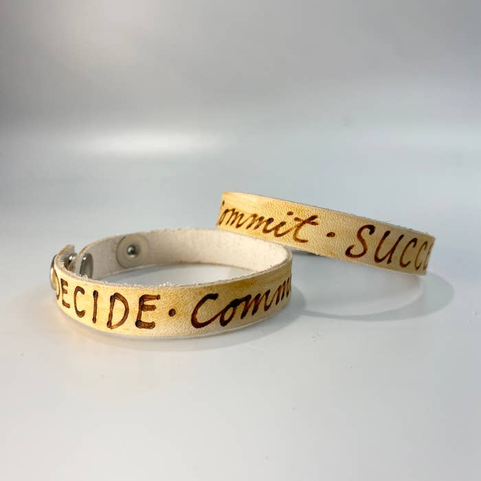 Decide. Commit.  Succeed Leather Inscribed Bracelet
