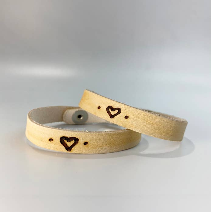 Heart Symbol Leather Inscribed Bracelet