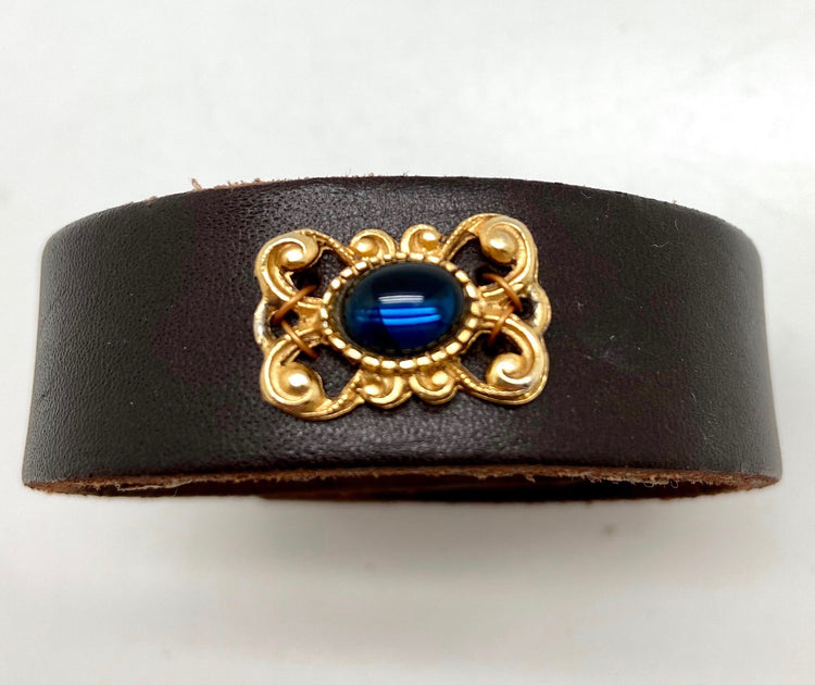1950s Bracelet Link, Dark Brown Leather Cuff