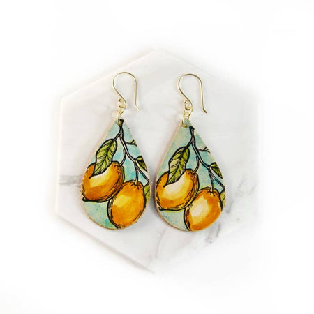 Lemon Hand Painted Leather Earrings