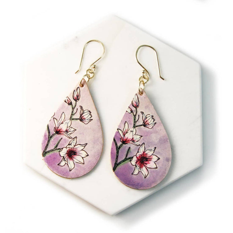 Magnolia Hand Painted Leather Earrings