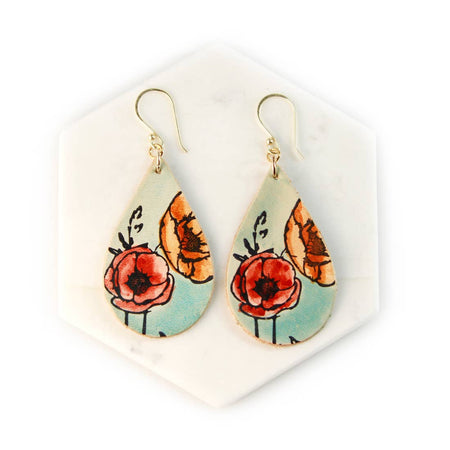 Poppy Hand Painted Leather Earrings