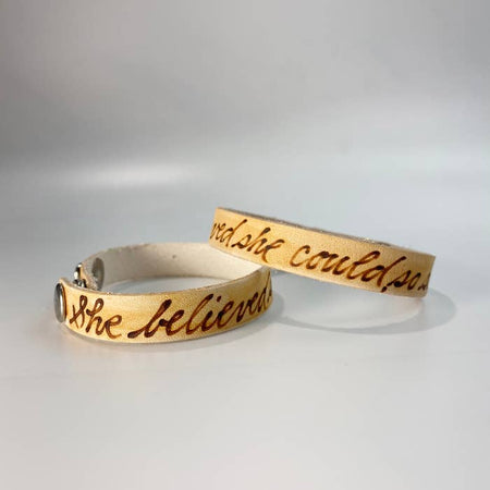 She Believed She Could Leather Inscribed Bracelet