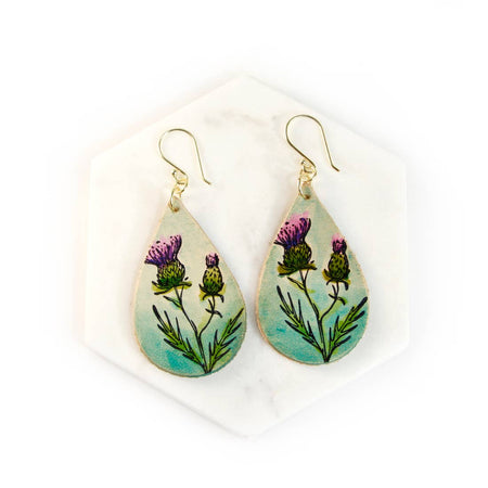 Thistle Hand Painted Leather Earrings