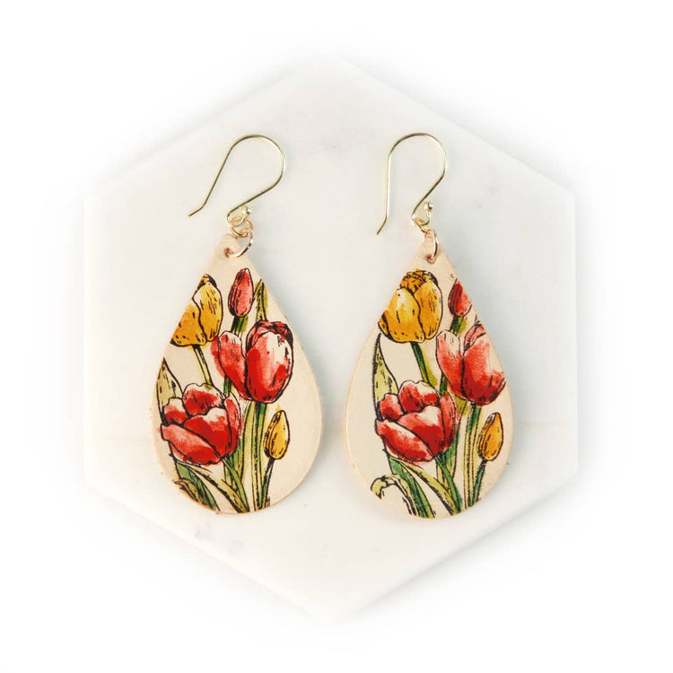 Tulips Hand Painted Leather Earrings