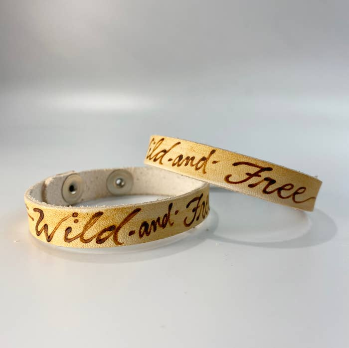 Wild and Free Leather Inscribed Bracelet