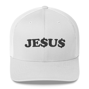 """JE$U$"" TRUCKER HAT IN WHITE"