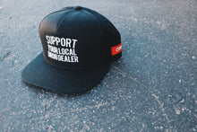 "Load image into Gallery viewer, ""Support Your Local Drug Dealer"" Snapback in Black"