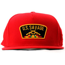 "Load image into Gallery viewer, ""U.S.Savage"" Snapback (Red)"