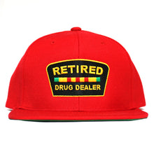 "Load image into Gallery viewer, ""Retired Drug Dealer"" Snapback (Red)"