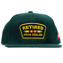 "Load image into Gallery viewer, ""Retired Drug Dealer"" Snapback in Green"