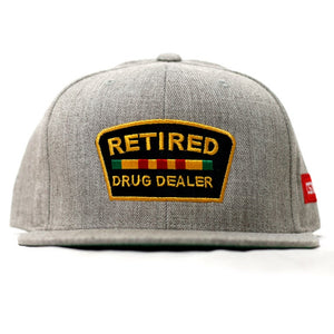 """Retired Drug Dealer"" Snapback in Heather"