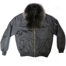Load image into Gallery viewer, Fox Fur Diplomat Bomber in Black