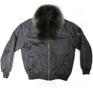 Fox Fur Diplomat Bomber in Black