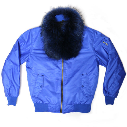 Fox Fur Diplomat Bomber in Blue