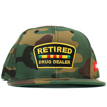 "Load image into Gallery viewer, ""Retired Drug Dealer"" Snapback (Camo)"