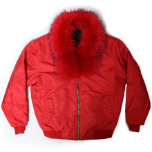 Load image into Gallery viewer, Fox Fur Diplomat Bomber in Red