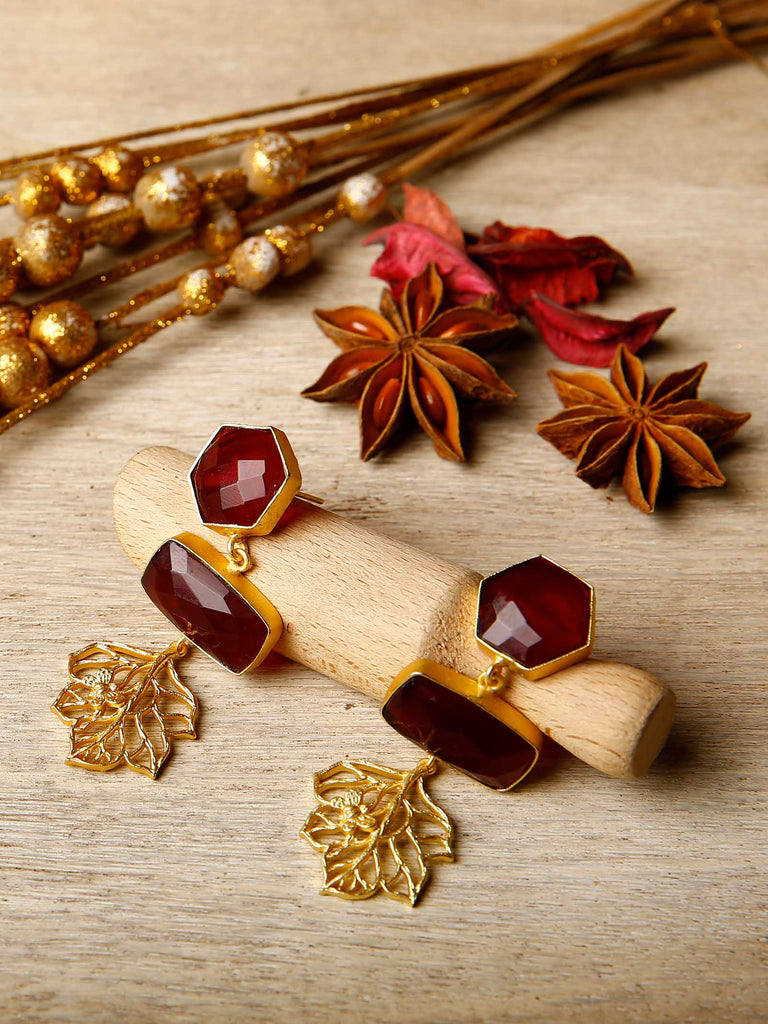 Maroon Danglers with delicate leaf