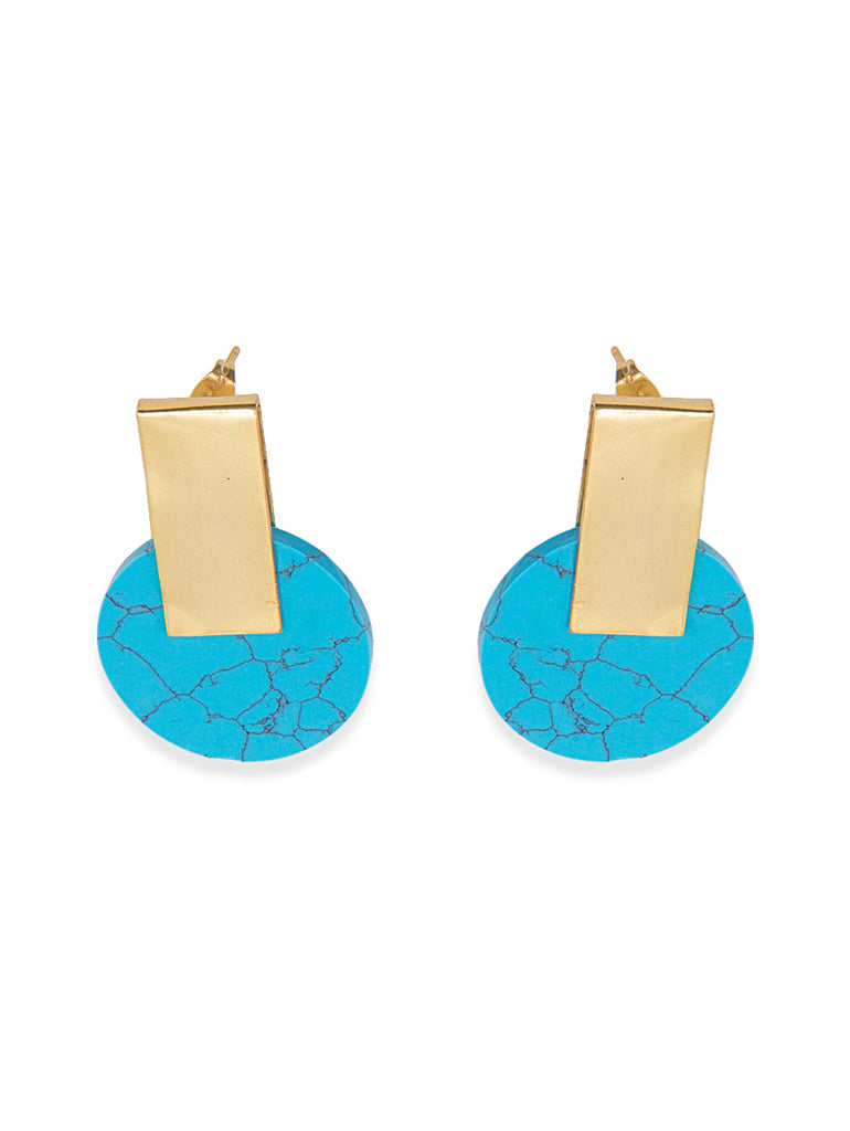 Blue and Gold Dome Shape Earring
