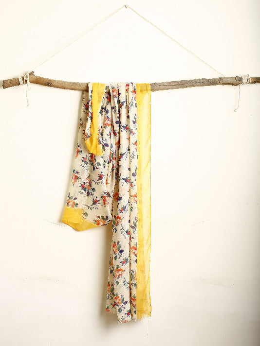 Floral scarf with yellow border