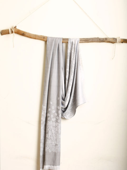 Grey Stole with white flowers
