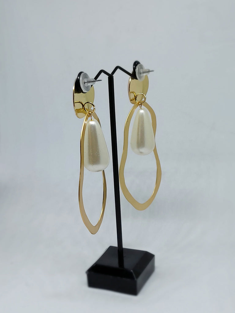 Gold Danglers with Pearl Drop