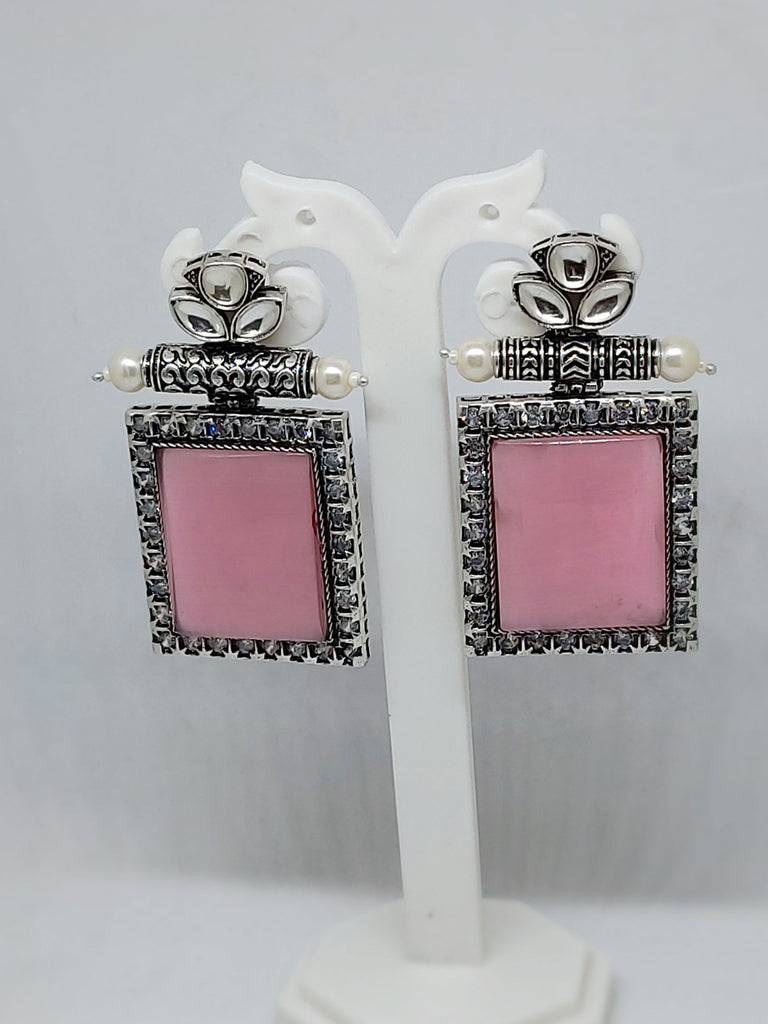 Silver and pink square earrings