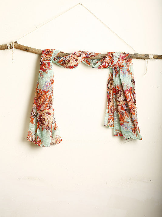 Mint Green and Floral Scarf